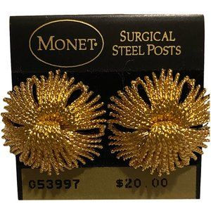 Monet Dramatic Golden Flower Pierced Earrings NEW
